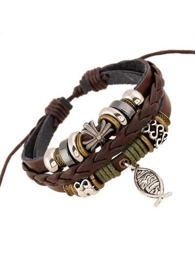 Women Handmade Braided Artificial Leather Bracelets