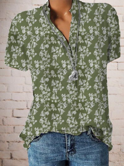 Plus size Vintage Short Sleeve Floral Shirts & Tops