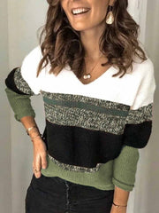 Olive Green Long Sleeve V Neck Shift Sweater