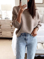 Coffee Round Neck Simple Sweater