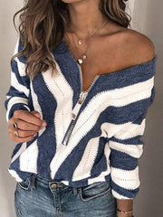 Navy Blue Shift Off Shoulder Zipper Casual Sweater