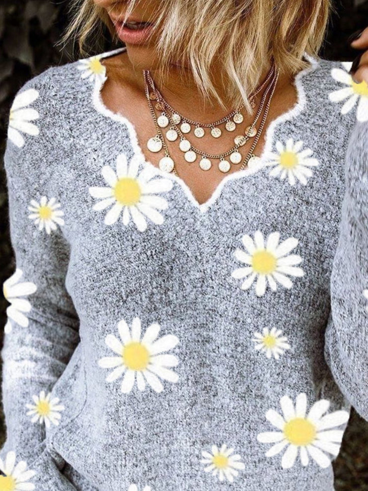 Gray Cotton Long Sleeve Sweater