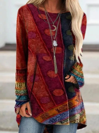 Long Sleeve Patchwork Round Neck Shirts & Tops