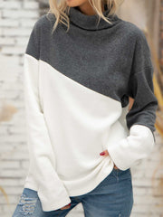 Turtleneck Fleece Long Sleeve Solid Shirts & Tops