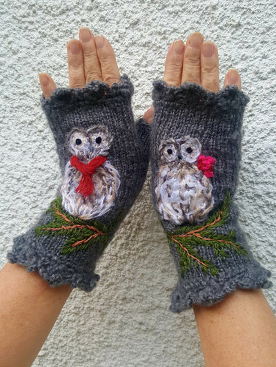 Embroidered Fingerless Gloves Gloves & Mittens