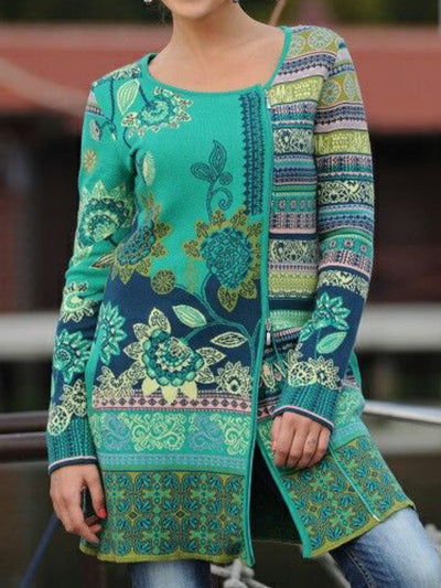 Women Casual Plus Size Fair Isle Knitting Coat