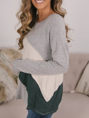 Casual Plus Size Round Neck Colorblock Sweatershirts Tops
