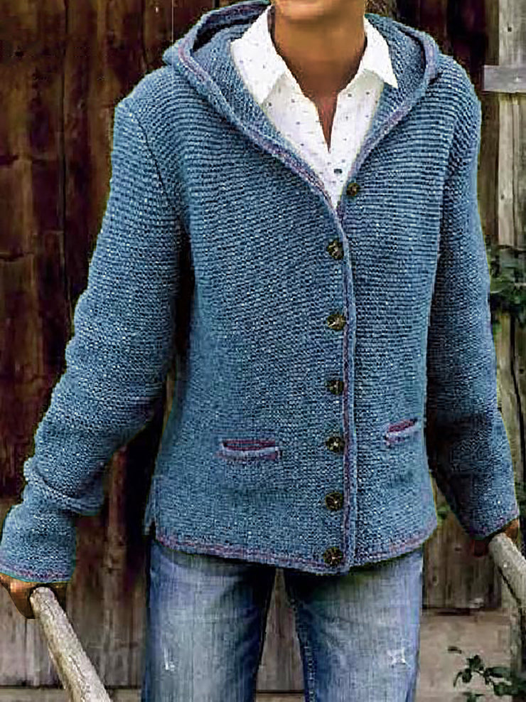 Hooded Long Sleeve Knitted Cardigan Sweater Outerwear
