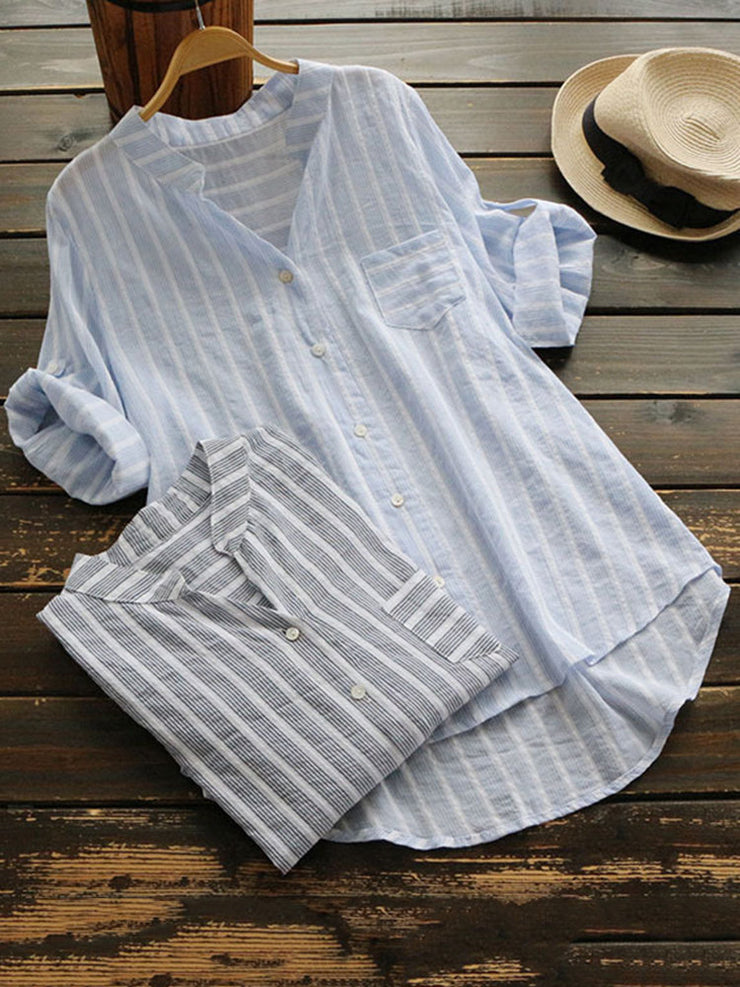 Casual 3/4 Sleeve Buttoned High Low V neck Stripes Linen Blouse
