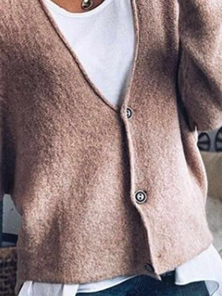 Long Sleeve Casual V Neck Outerwear