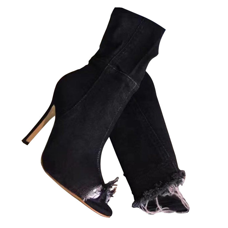 Women Hollow-Out High Heel Daily Fall Boots