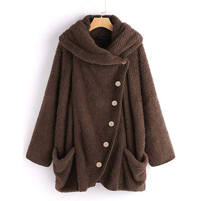 Long Sleeve Faux Fur Shift Shawl Collar Outerwear