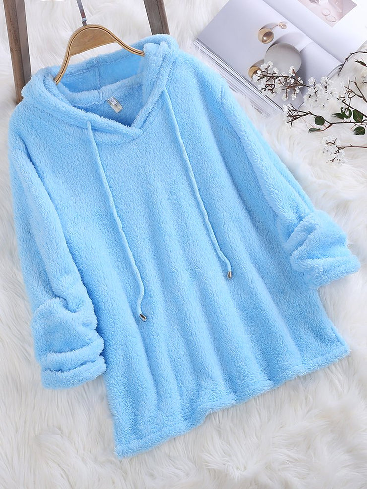 Mohair Hooded Solid Color Hoodies