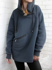Plus size Solid Casual Hoodies