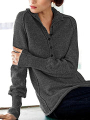 Casual V Neck Solid Long Sleeve Buttoned Sweater