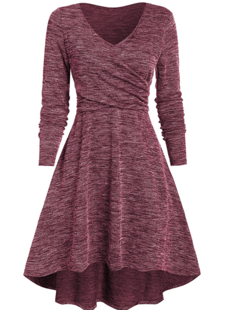 Casual Plus Size Long Sleeve V Neck Dresses