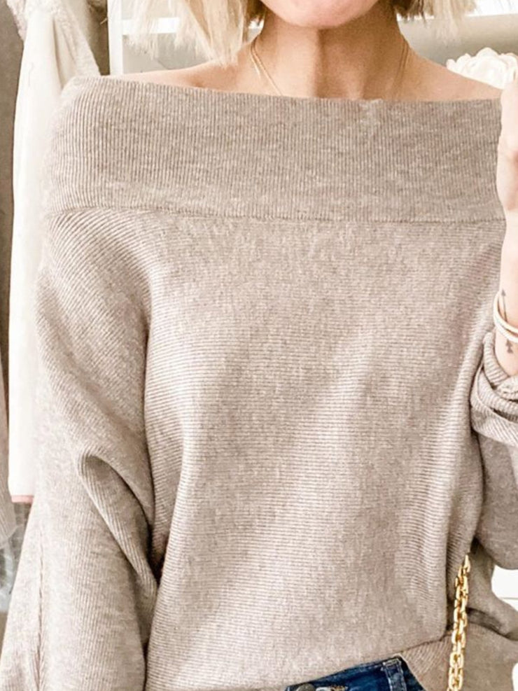 Light Coffee Solid Off Shoulder Casual Long Sleeve Sweater