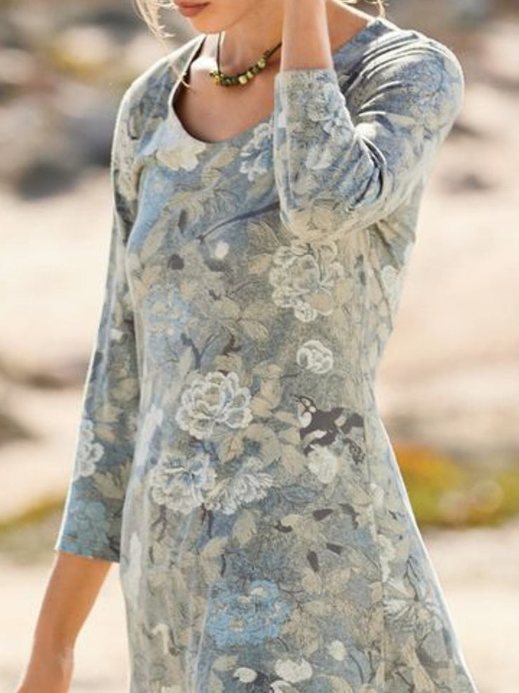 Round Neck Cotton Casual Printed Shirts & Tops