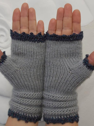Embroidered Flower Fingerless Gloves Gloves & Mittens