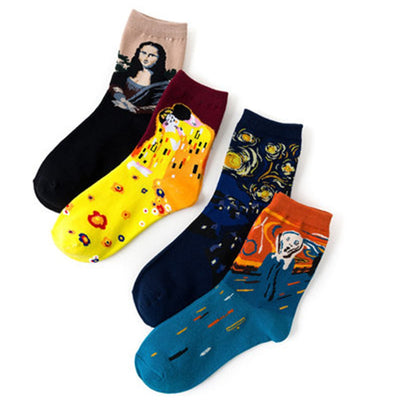 Unisex cotton blend flower socks