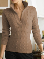Apricot Long Sleeve Cotton-Blend Casual Sweater