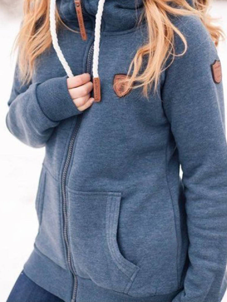 Gray Hoodie Long Sleeve Casual Outerwear