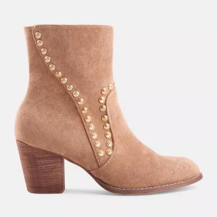 Faux Suede Rivet Dress Boots