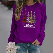 Plus Size Crew Neck Vintage Christmas Long Sleeve Cotton-Blend Shirts & Tops