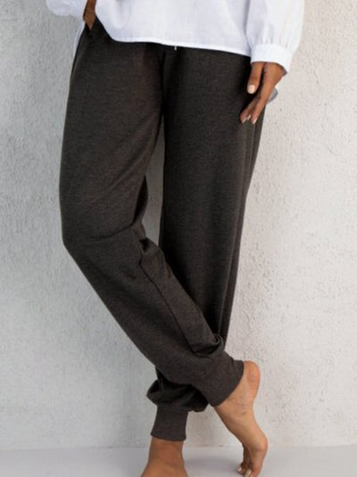 Gray Knitted Cocoon Casual Pants