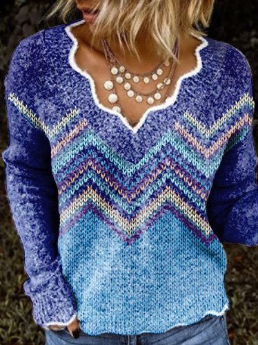 Purple Exotic V Neck Long Sleeve Stripes Sweater
