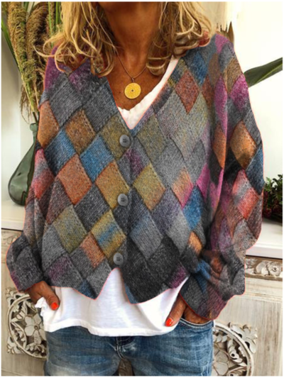 Plus size Geometric Long Sleeve Outerwear