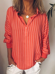 Stripes V Neck Casual Long Sleeve Blouses