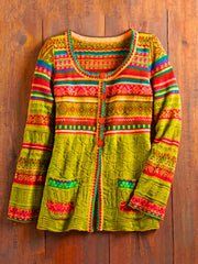 Green Vintage Tribal Knitted Crew Neck Sweater