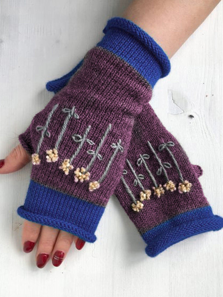 Gray Casual Cotton-Blend Gloves & Mittens