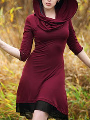 Plus size Hoodie Vintage Cotton Dresses