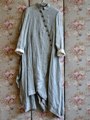 Vintage Casual Light Grey Cotton Daily Long Dress