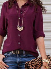 Deep Purple Long Sleeve Shift Shirts & Tops