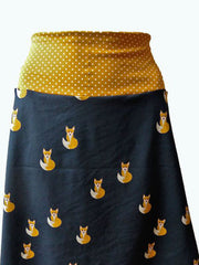 Yellow Animal Vintage Cotton-Blend Skirts