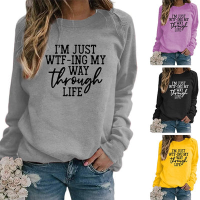 Plus size Long Sleeve Crew Neck Letter Shirts & Tops