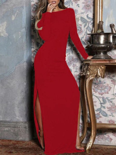 New Women Chic Plus Size Vintage Holiday Comfortable Party Long Sleeve Dresses