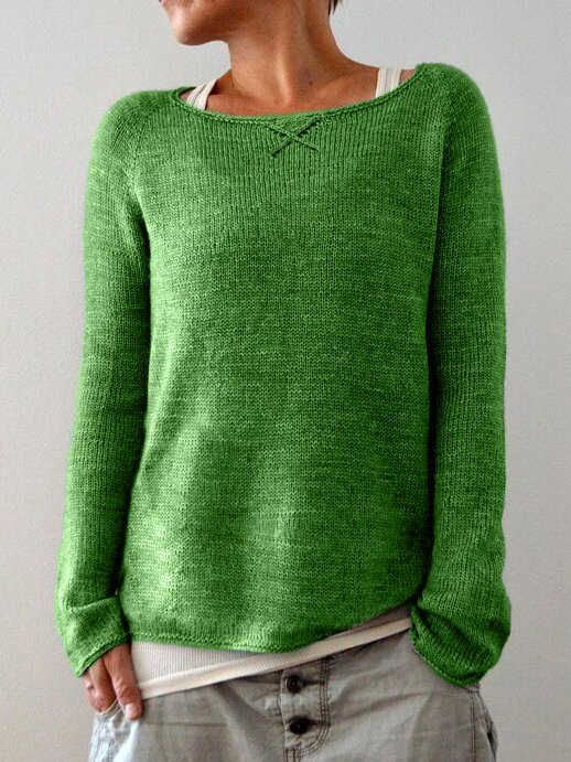 Solid Crew Neck Casual Sweater