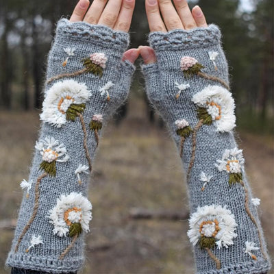 Long fingerless gloves with embroidered dandelions, wild flowers arm warmers, floral mitts, mori girl accessories, boho knit gloves women