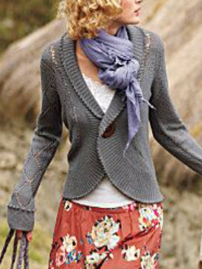 Gray Knitted Casual Plain Outerwear