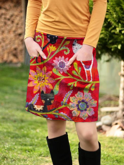 Plus size Floral Printed Skirts
