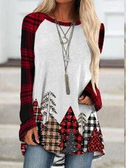 Checkered/plaid Color-Block Casual Long Sleeve Shirts & Tops