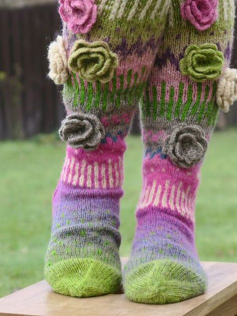 Knee High Socks Bohemian Socks Hand Knit