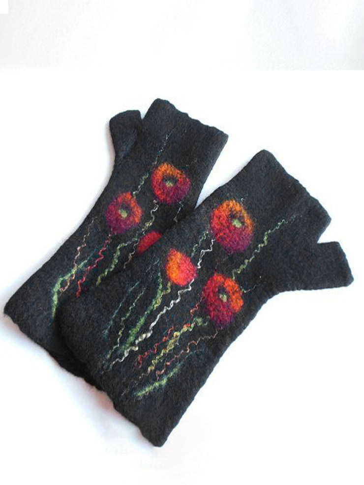 Navy Blue Paneled Floral Casual Gloves & Mittens