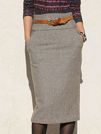 Gray Plain Vintage Shift Skirts