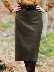 Army Green Shift Plain Vintage Skirts