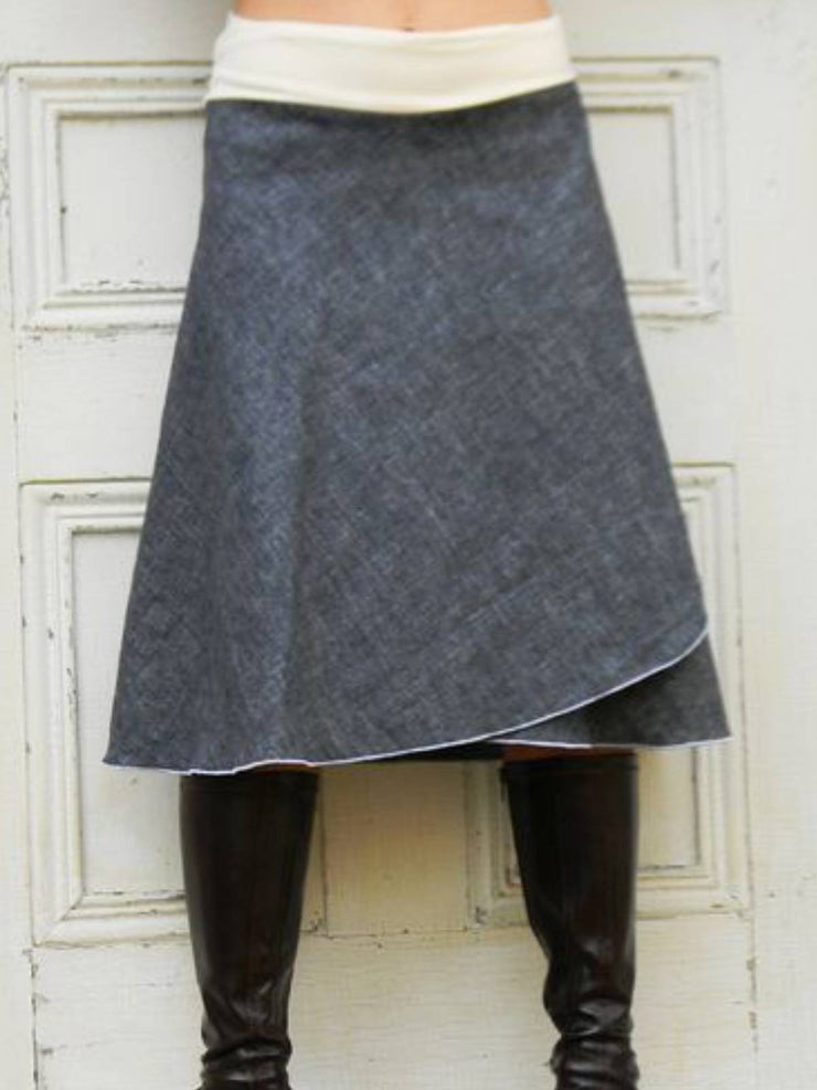 Gray Plain Wool Blend Casual Skirts